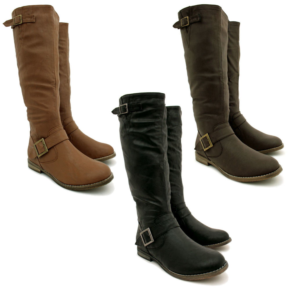 new womens flat leather style knee high buckled biker