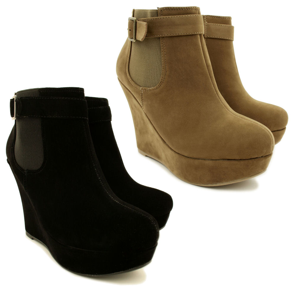 neu damen stiefeletten ankle boots keilabsatz wedges. Black Bedroom Furniture Sets. Home Design Ideas