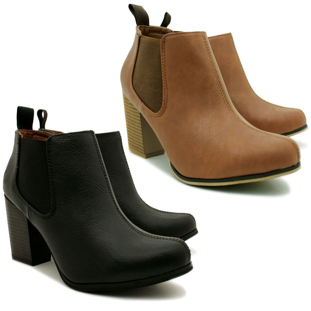 New Womens Leather Style Chelsea Block Heel Ankle Boots | eBay