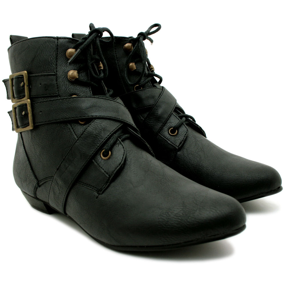NEW WOMENS LEATHER STYLE BUCKLE LACE UP FLAT PIXIE ANKLE BOOTS ...