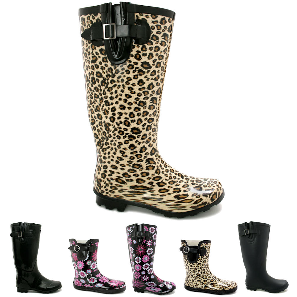 New Womens Snow Rain Welly Wellington Flat Wide Calf Boots | eBay