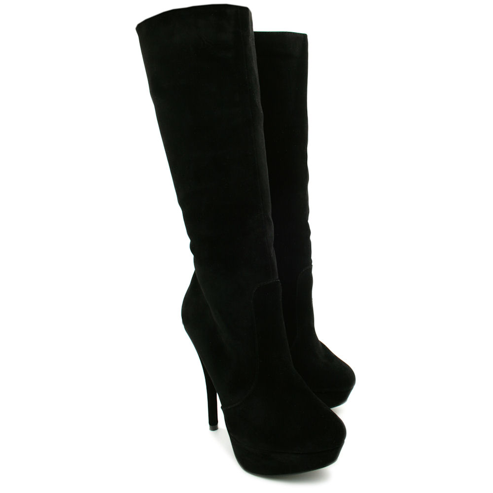 new womens suede style knee high stiletto platform boots