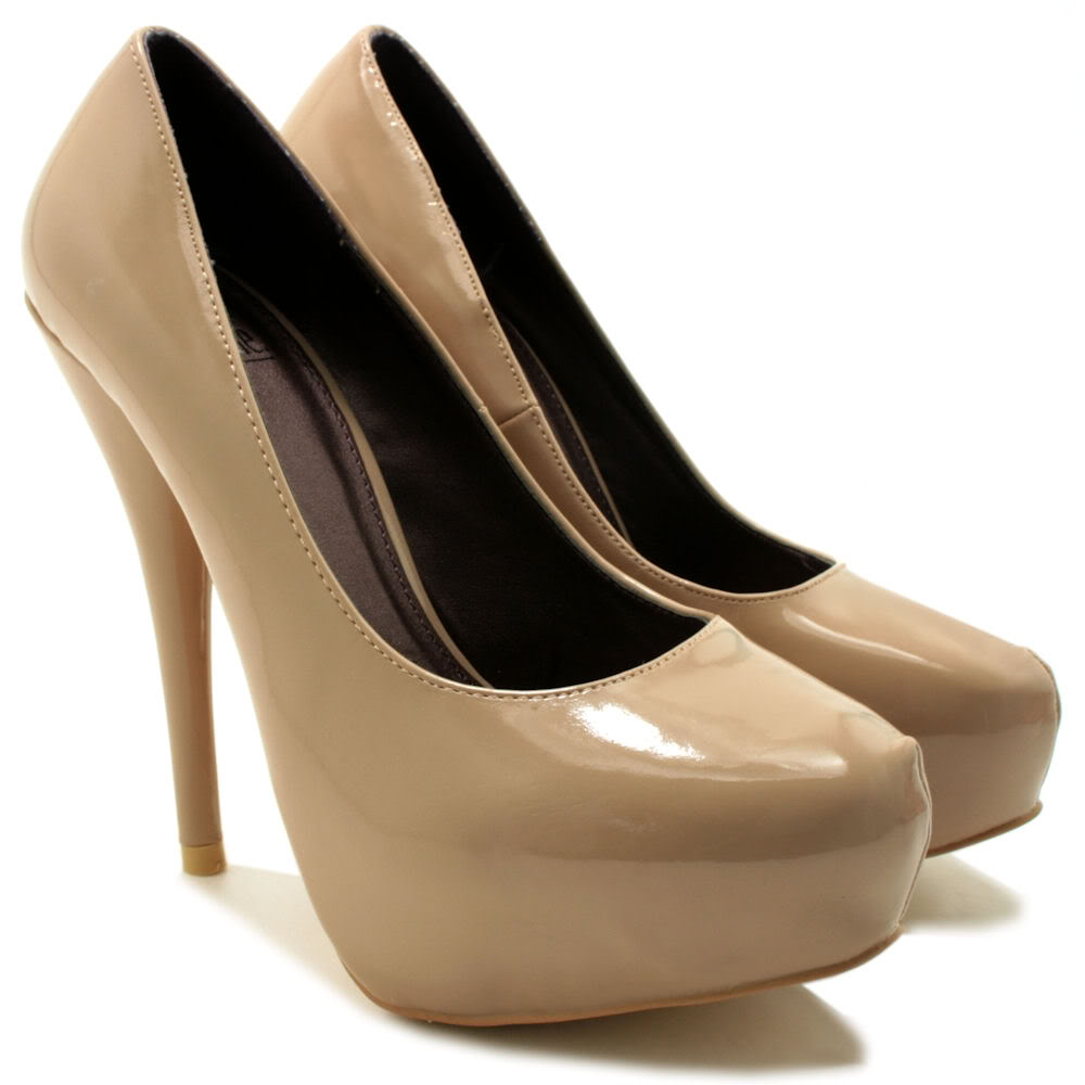NEW-WOMENS-HIGH-HEEL-PLATFORM-SUEDE-STYLE-PATENT-PARTY-COURT-LADIES-SHOES-SIZE thumbnail 6