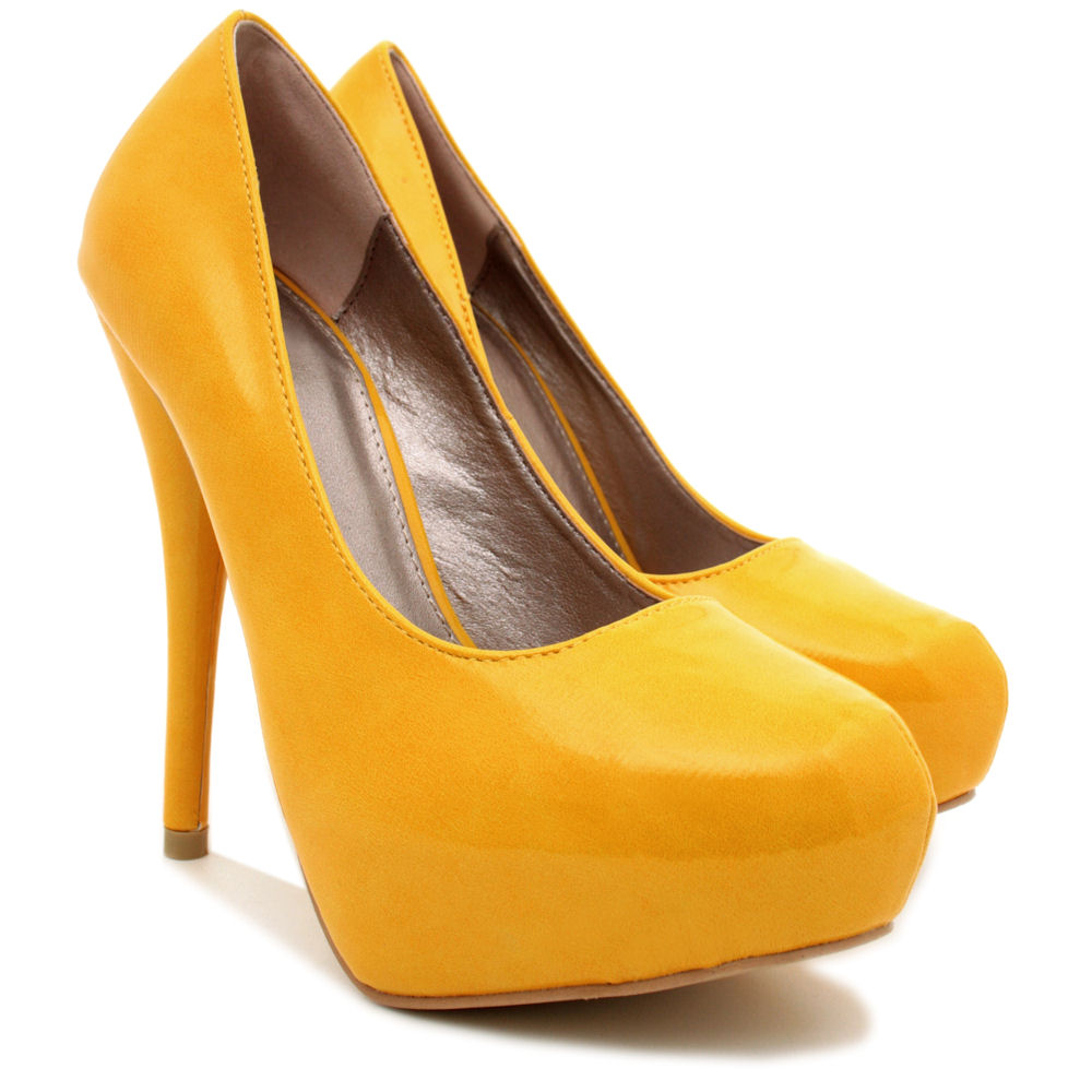 NEW-WOMENS-HIGH-HEEL-PLATFORM-SUEDE-STYLE-PATENT-PARTY-COURT-LADIES-SHOES-SIZE thumbnail 12