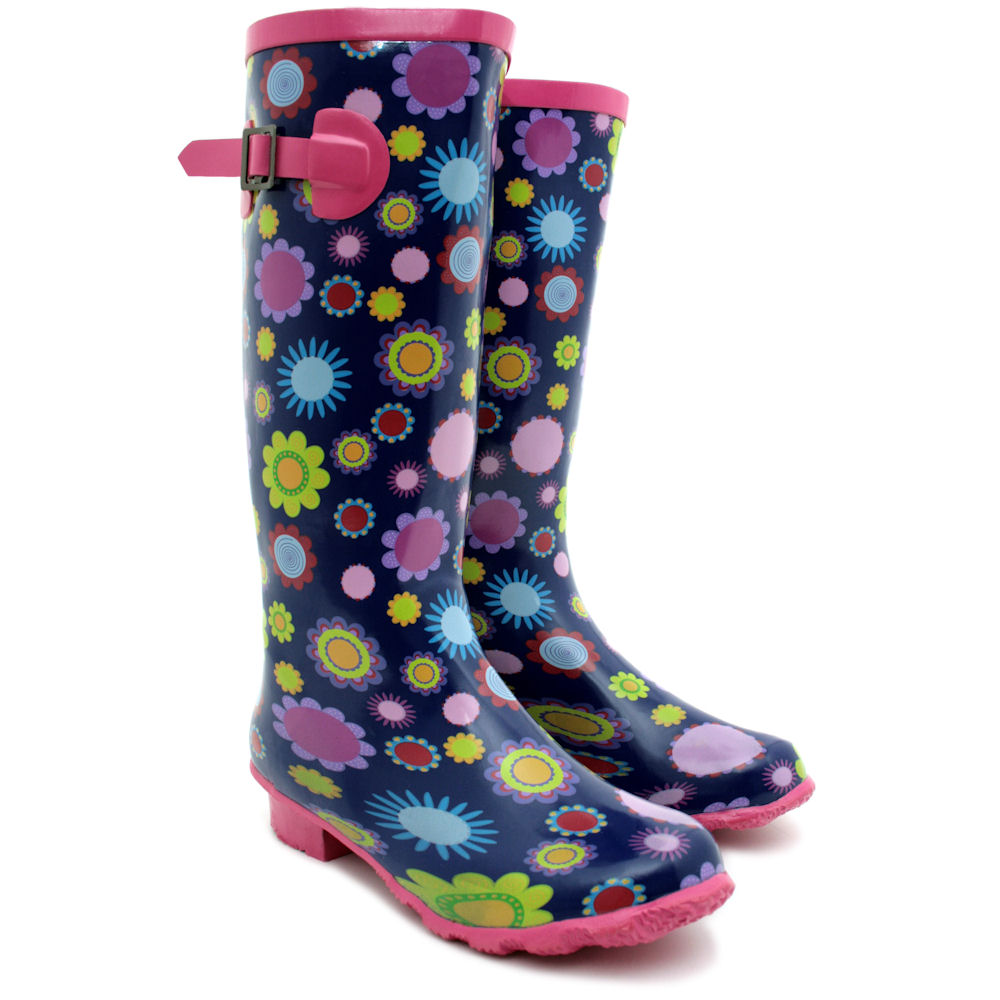 NEW WOMENS FUNKY PATTERNED FESTIVAL WELLIES WELLINGTON RAIN BOOTS ...