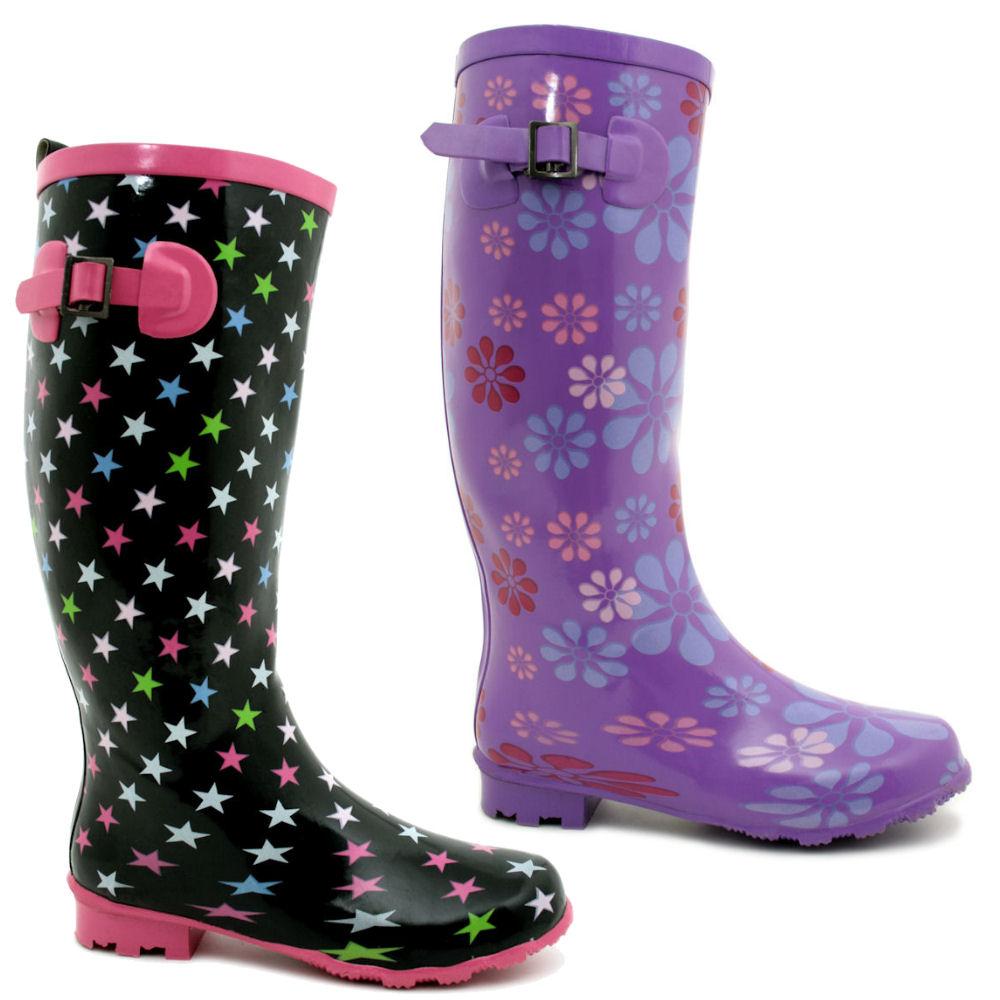Excellent Womens Flat Wellies Mid Calf Rubber Rain Amp Snow Boots Rain BootsSize