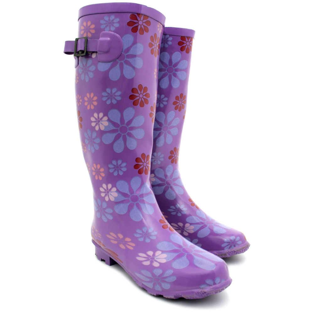 Popular Womens 100 Rubber Gloss Adjustable Back Wide Calf Fit Welly Snow Rain