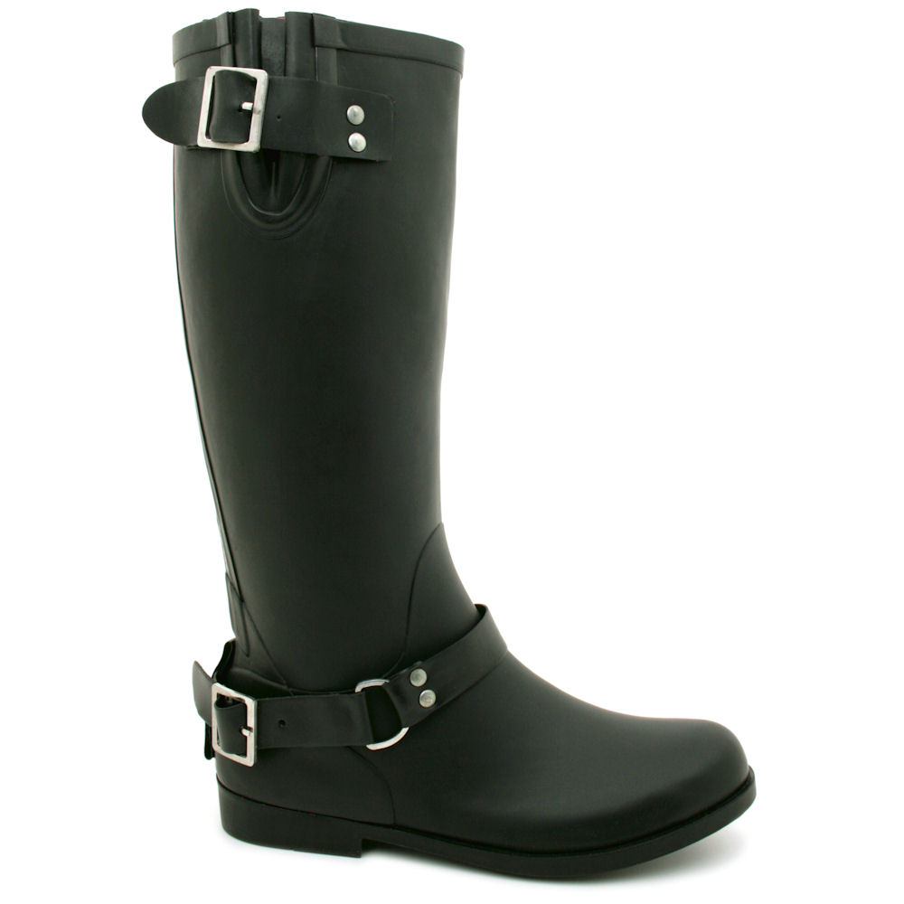 NEW-WOMENS-BIKER-BUCKLE-ZIP-UP-FASHION-WELLINGTON-WELLIES-FLAT-BOOTS-SIZE
