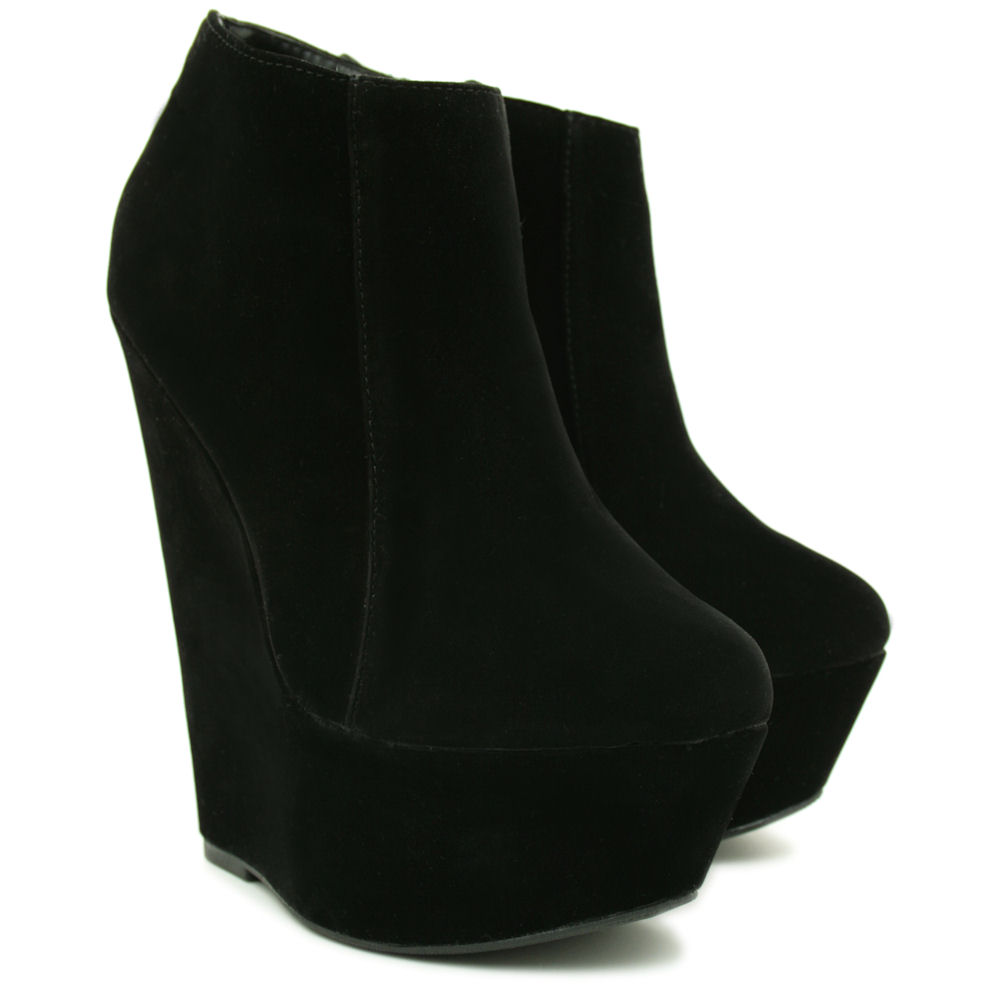 new womens suede style wedge heel platform ankle boot
