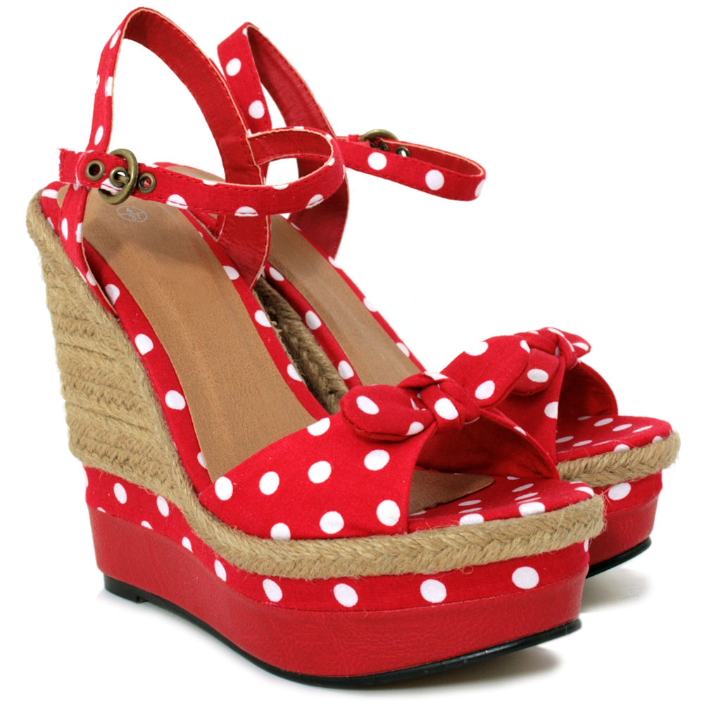 new womens raffia wedge polka dot platform bow shoes