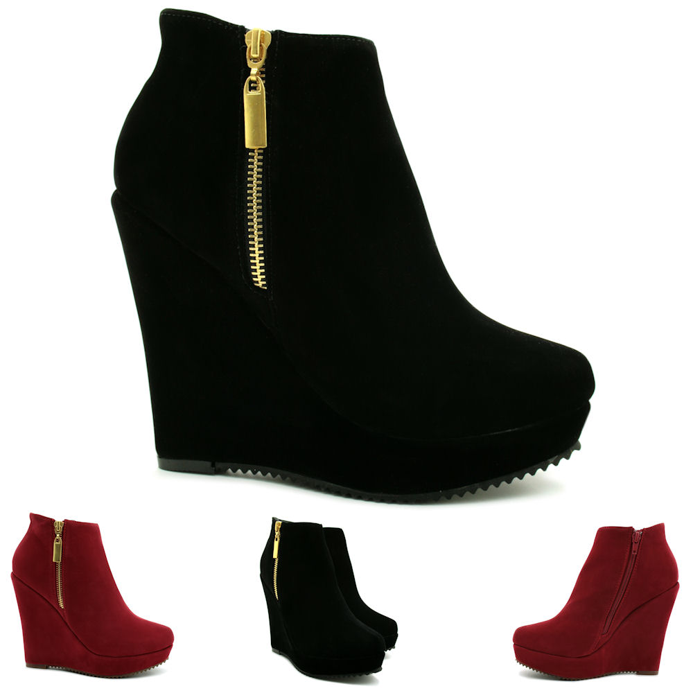 new womens wedge heel suede style zip platform ankle boots