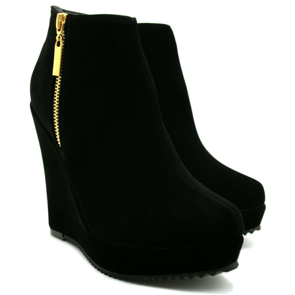 new womens wedge heel suede style zip platform ankle boot