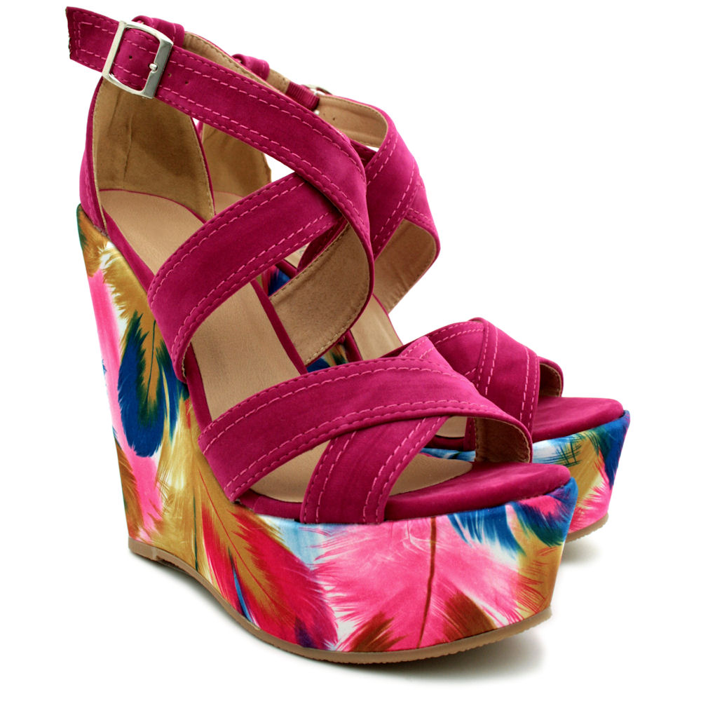 NEW-WOMENS-PLATFORM-FEATHER-PRINT-STRAPPY-SANDALS-SHOES-SIZE