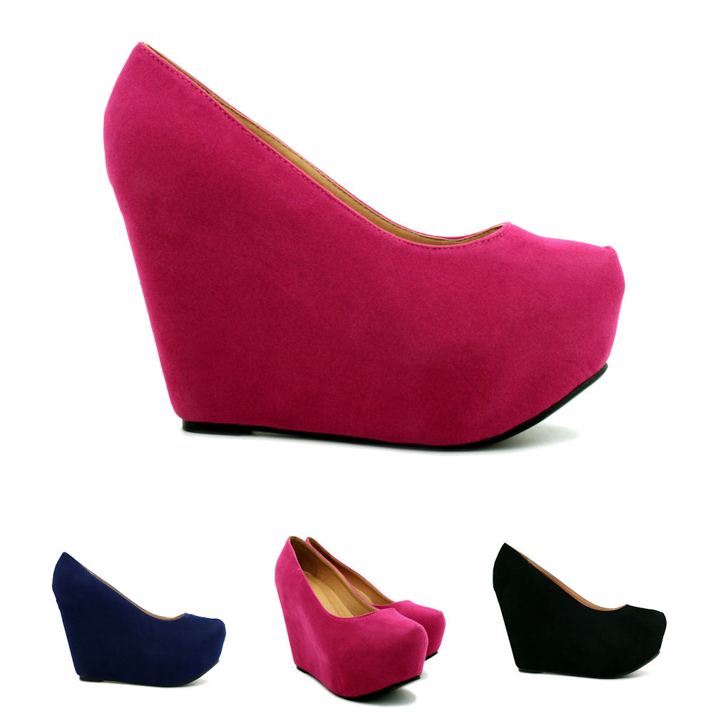 new womens suede style wedge heel concealed platform court