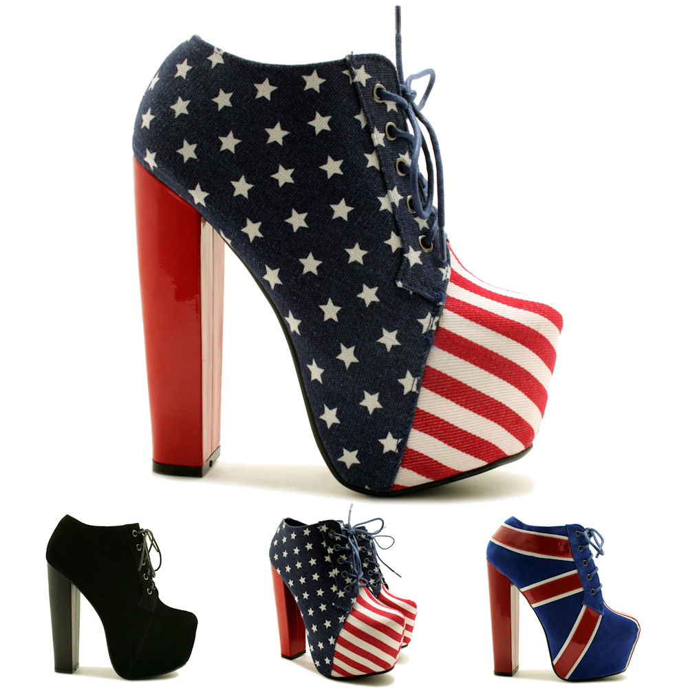 neu damen american flag stiefeletten ankle boots blockabsatz plateau gr 36 41 ebay. Black Bedroom Furniture Sets. Home Design Ideas