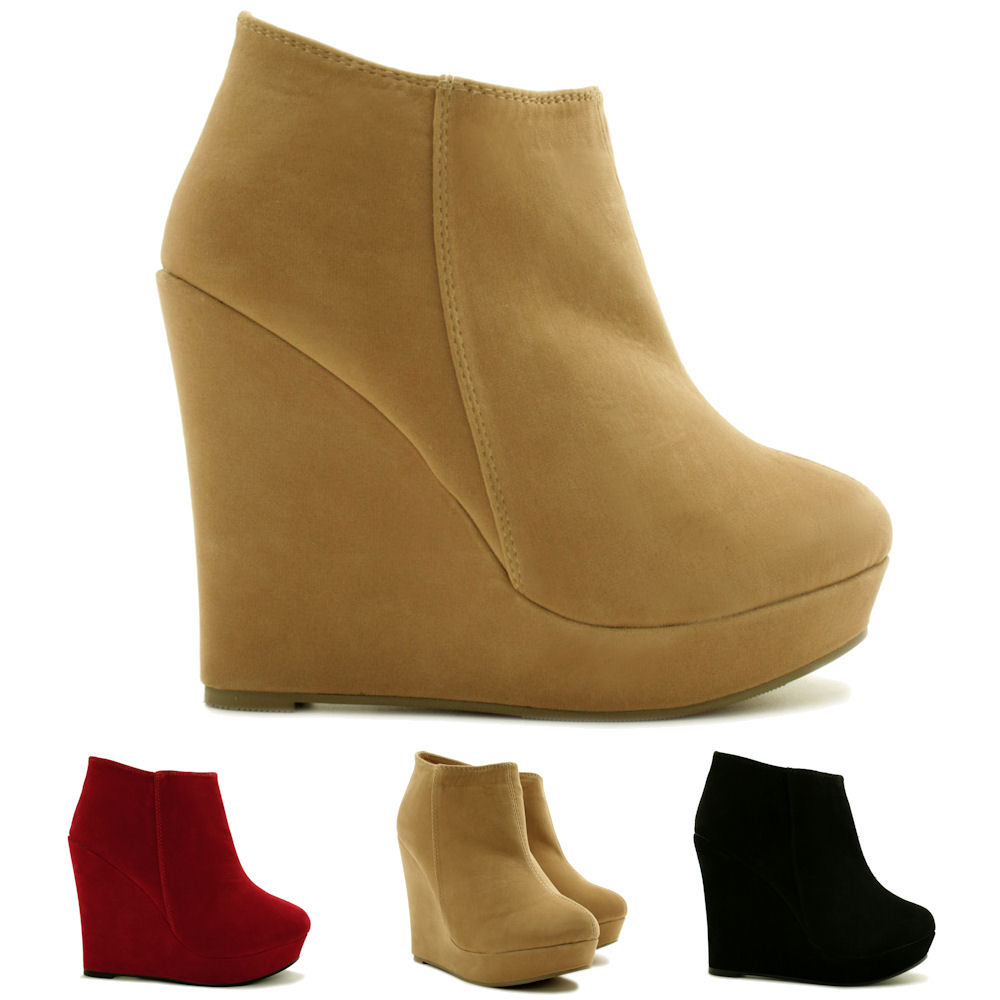 new womens suede style wedge heel platform ankle boots