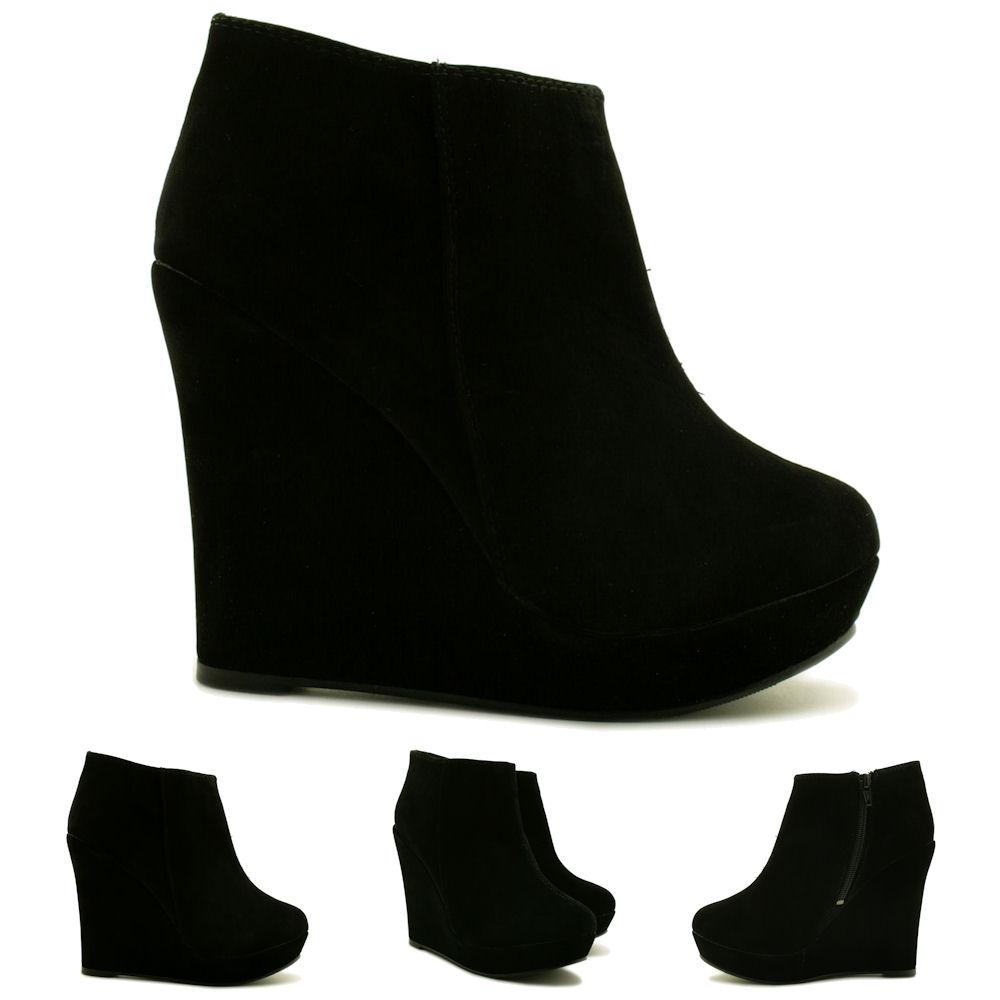 Neu Schuhe Ankle Stiefeletten Damen Boots Keilabsatz Plateau TFKJ1lc3