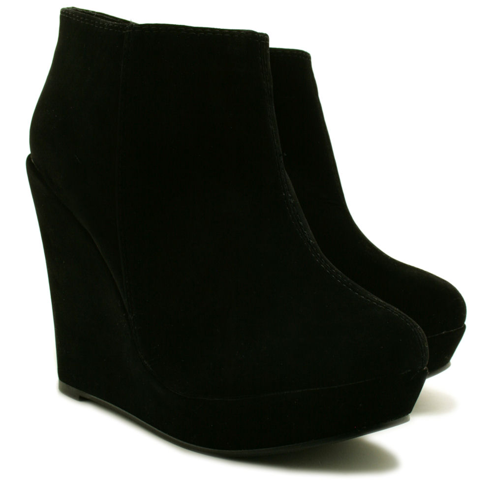 neu damen stiefeletten ankle boots schuhe keilabsatz plateau gr 36 41 ebay. Black Bedroom Furniture Sets. Home Design Ideas