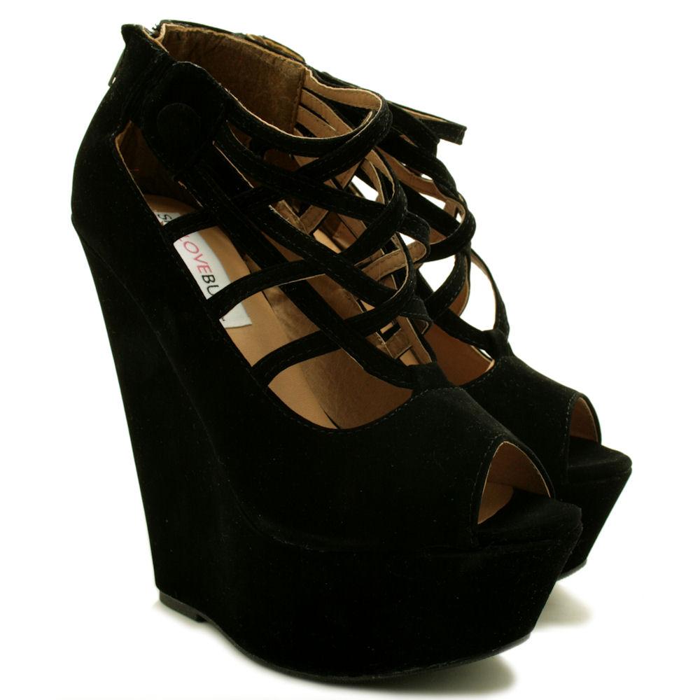 neu damen pumps high heel sandalen schuhe keilabsatz. Black Bedroom Furniture Sets. Home Design Ideas