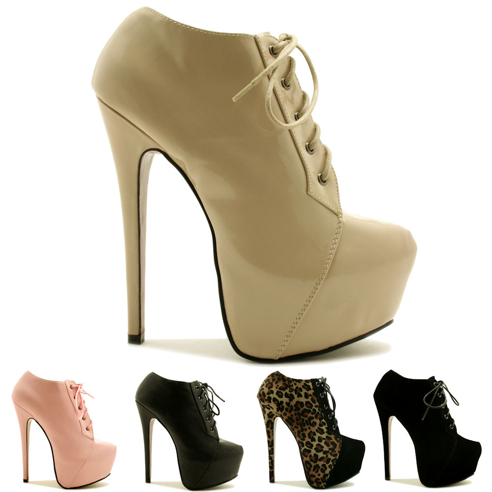 new womens stiletto heel lace up concealed platform ankle. Black Bedroom Furniture Sets. Home Design Ideas