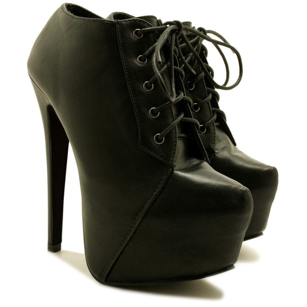 new womens stiletto heel lace up concealed platform ankle