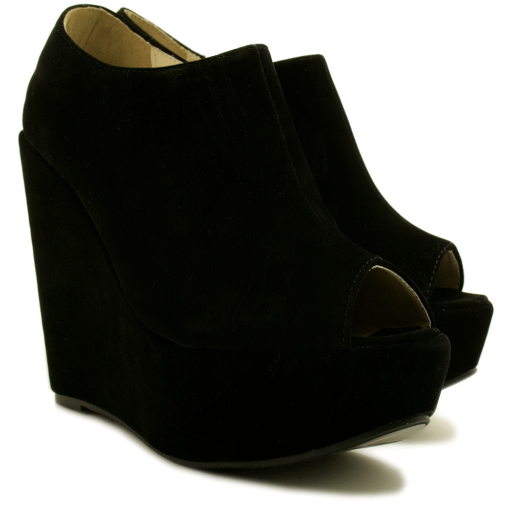 new womens suede style wedge heel platform peep toe ankle