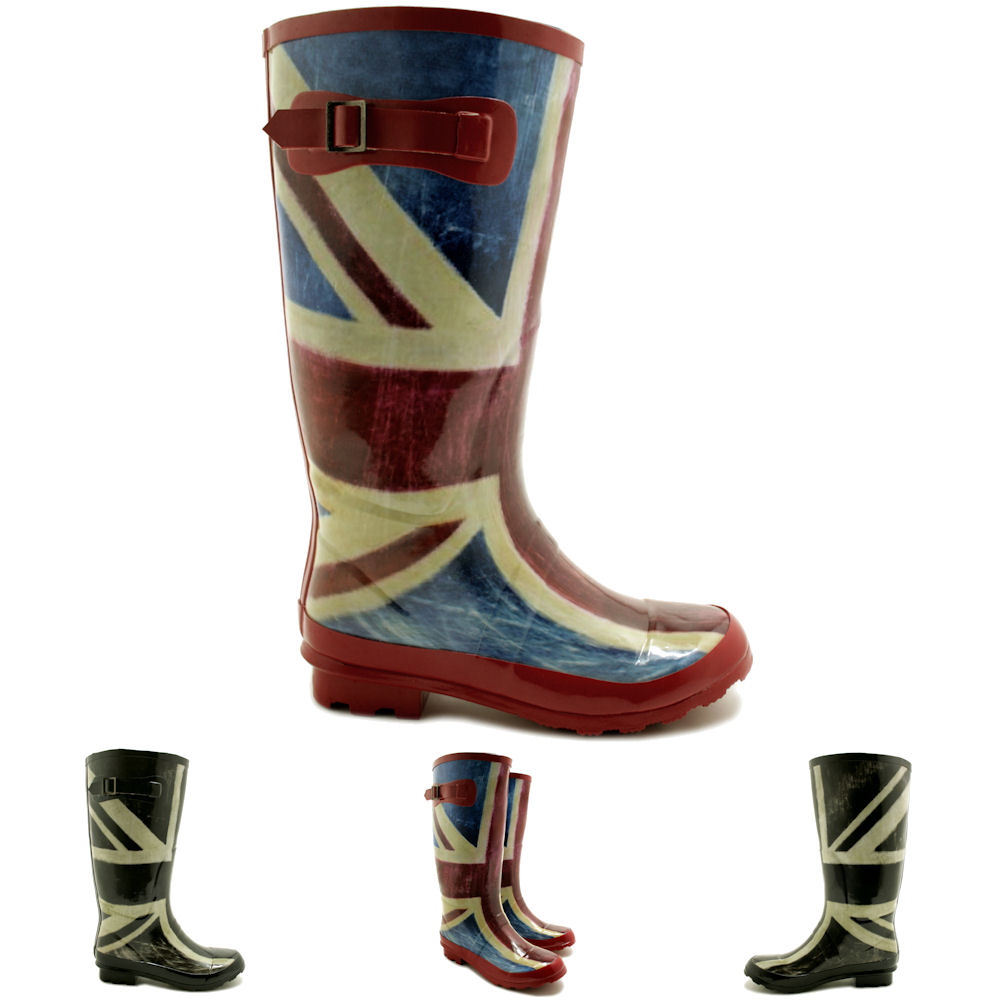 NEW WOMENS UNION JACK FESTIVAL WELLIES KNEE HIGH WIDE CALF RAIN ...