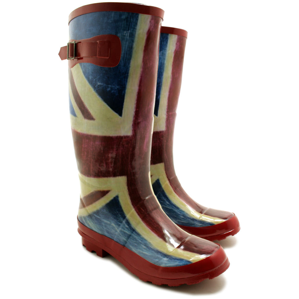 new womens union jack festival wellies knee high wide calf. Black Bedroom Furniture Sets. Home Design Ideas