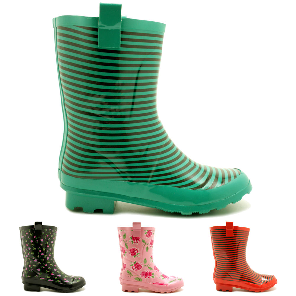 NEW WOMENS FESTIVAL WELLIES WELLINGTON WIDE CALF FITTING SHORT ...