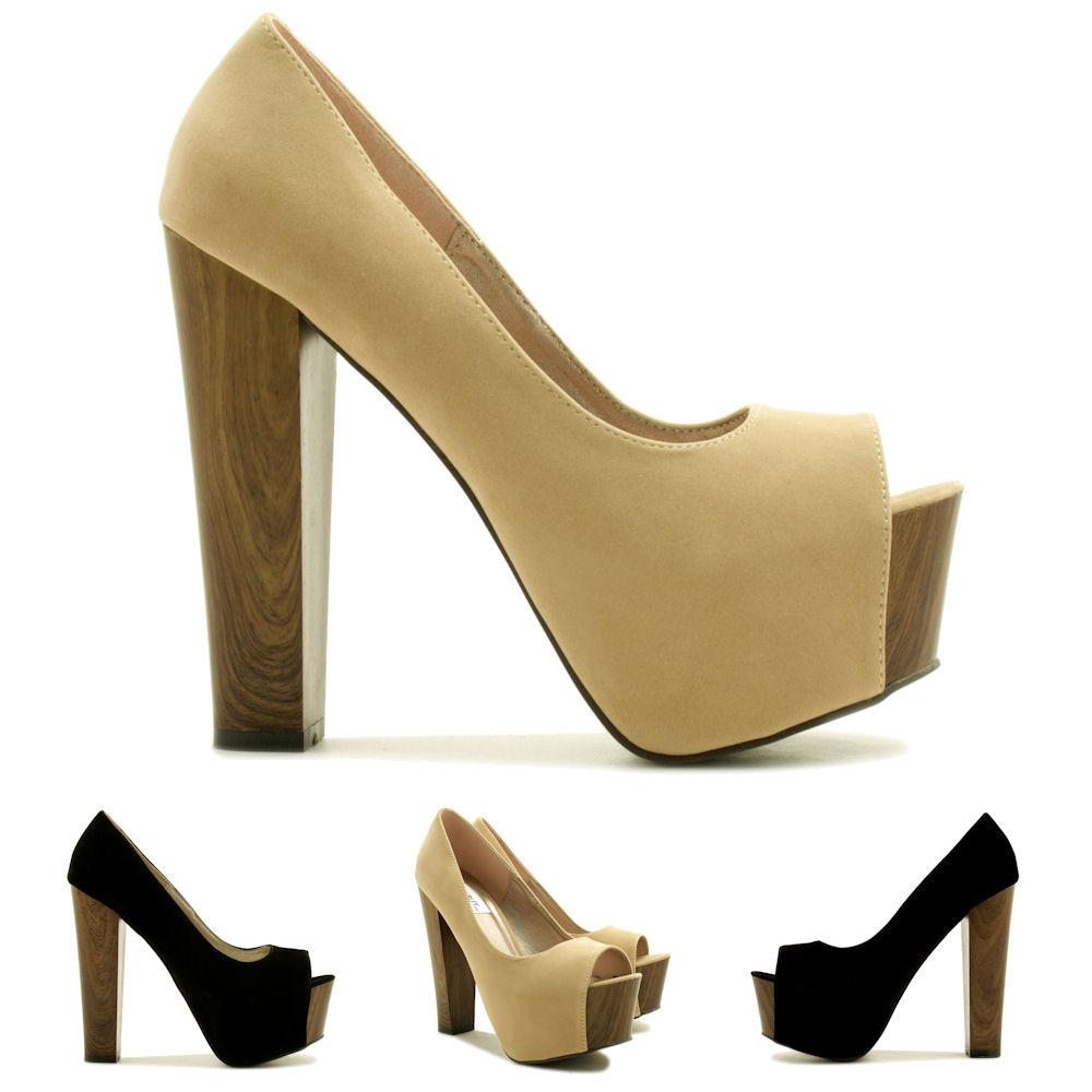 neu damen pumps high heel schuhe blockabsatz offene spitze plateau gr 36 41 ebay. Black Bedroom Furniture Sets. Home Design Ideas