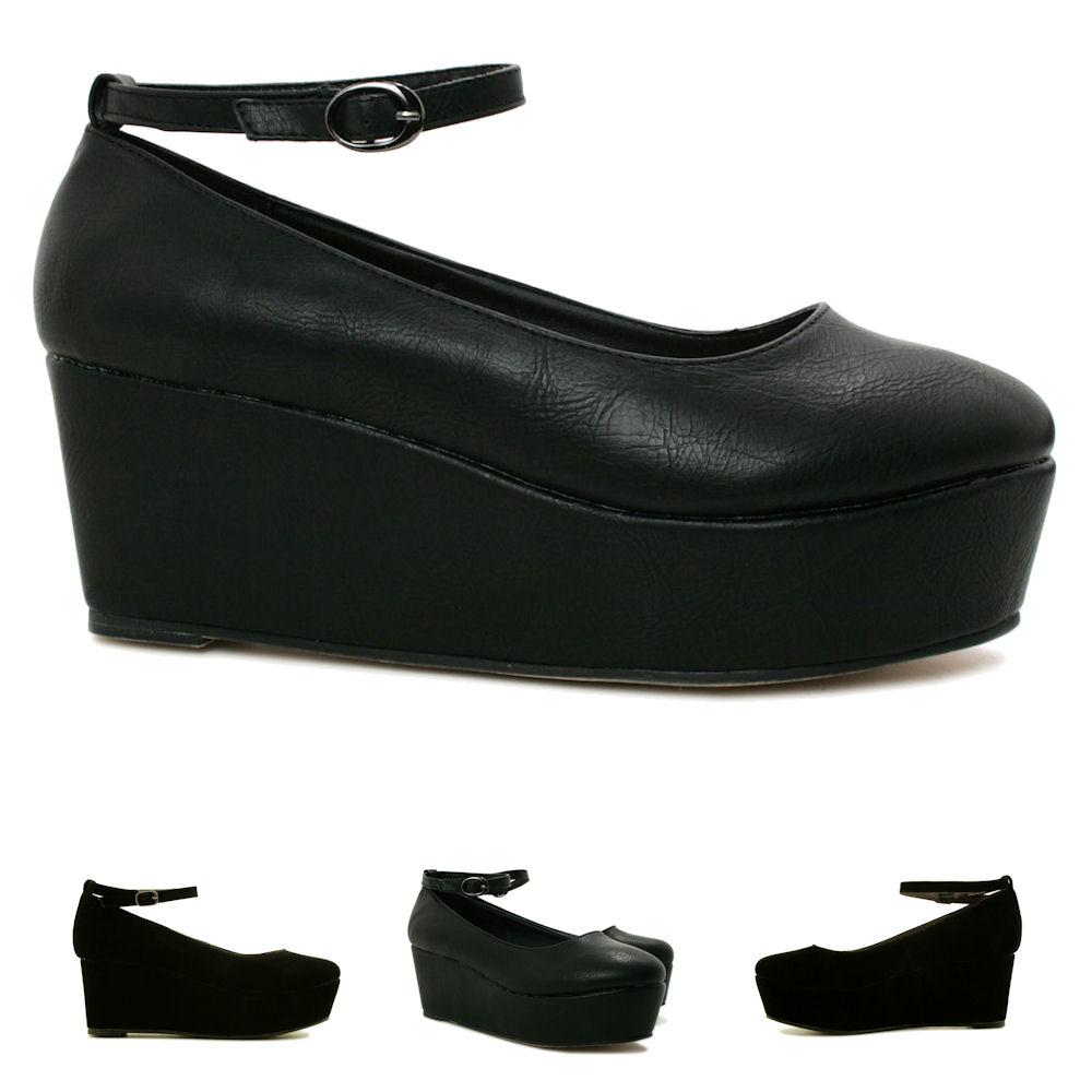 new womens wedge heel platform flatform shoes size ebay