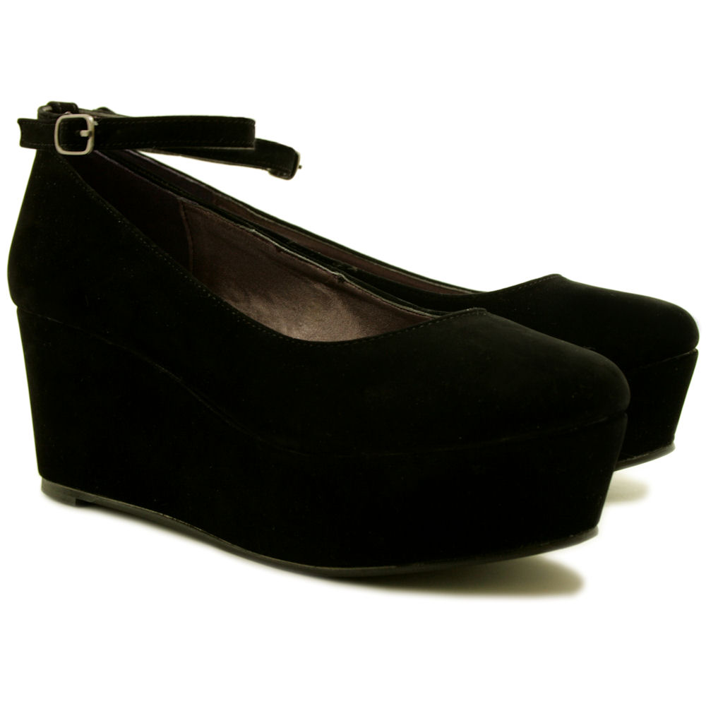Details about NEW WOMENS WEDGE HEEL PLATFORM FLATFORM SHOES SIZE