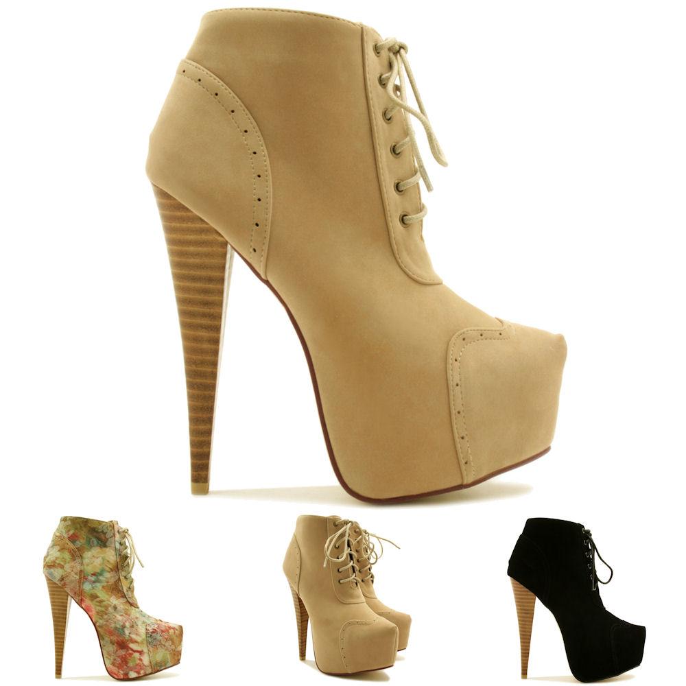 new womens stiletto heel brogue lace up concealed platform. Black Bedroom Furniture Sets. Home Design Ideas