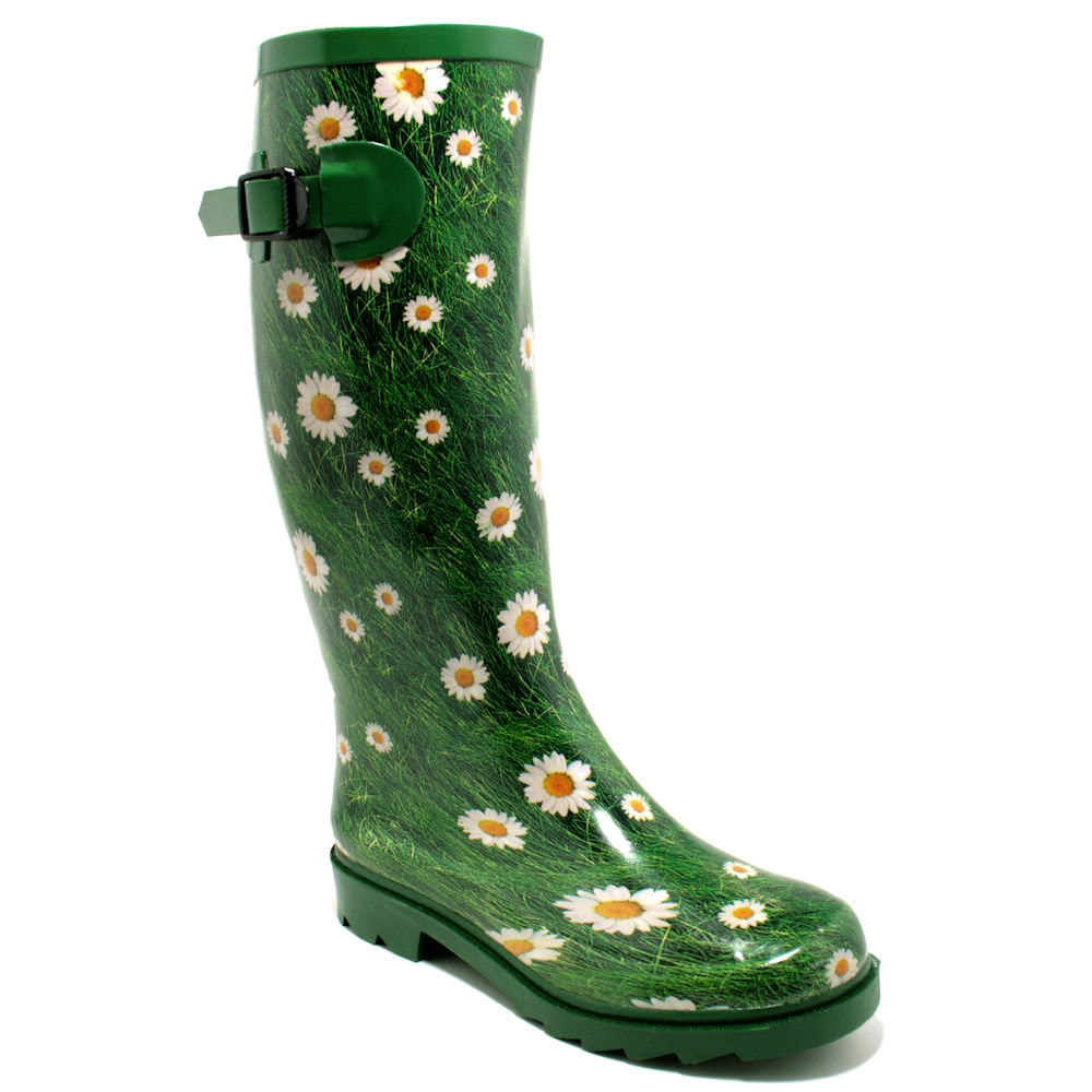 NEW WOMENS FESTIVAL WELLY WELLIES WELLINGTON FLAT KNEE HIGH RAIN ...