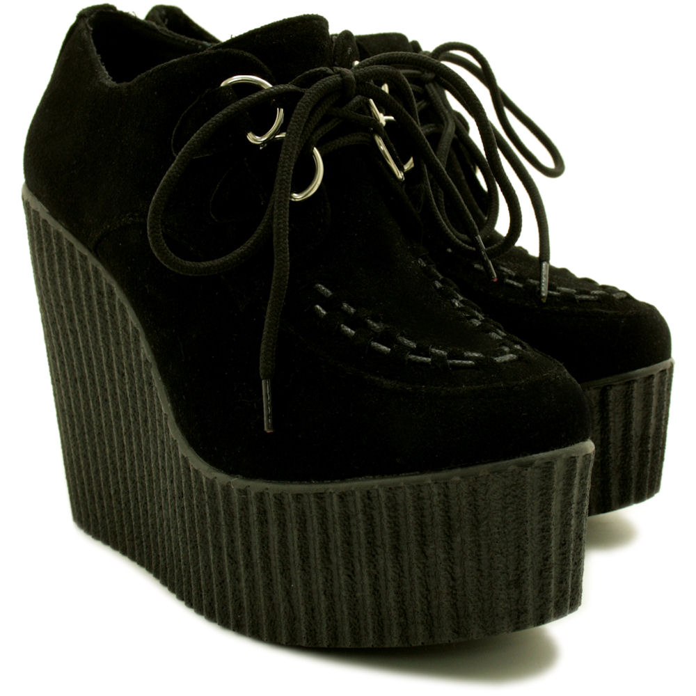 NEW WOMENS WEDGE HEEL CREEPER SNEAKER LACE UP PLATFORM SHOES SIZE ...
