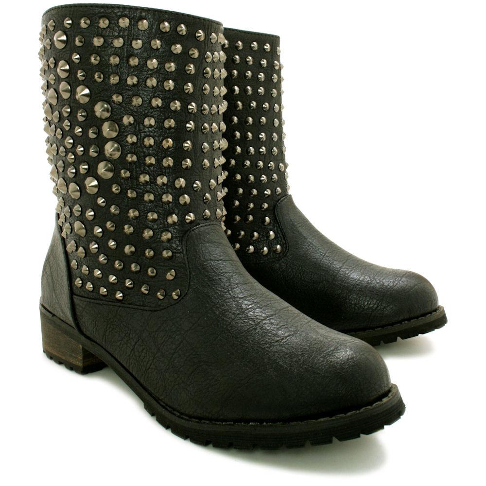 neu damen biker stiefeletten ankle boots schuhe flach gr. Black Bedroom Furniture Sets. Home Design Ideas