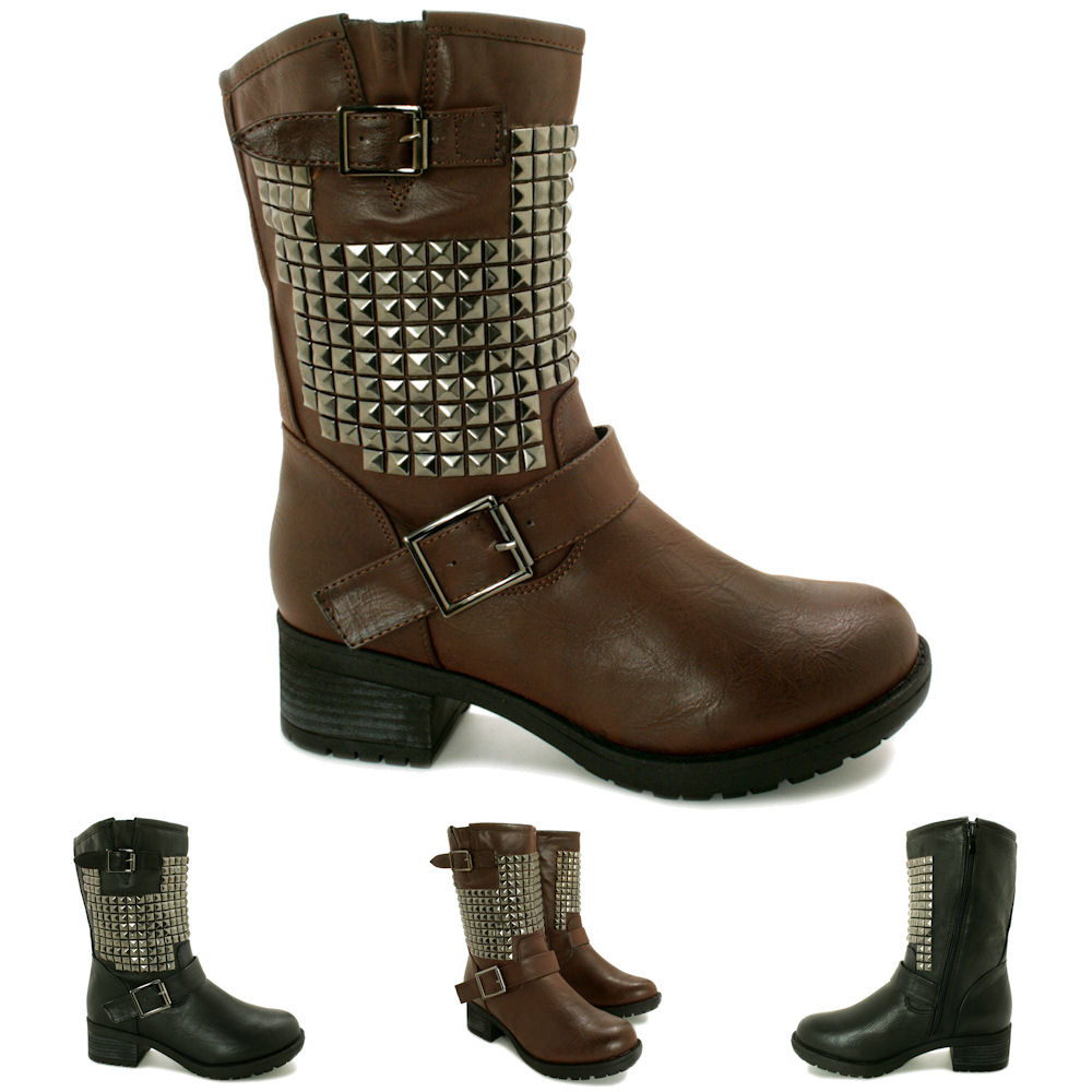 Innovative Womens Mid Block Heel Zip Up Military Combat Ankle Biker Boots Shoes