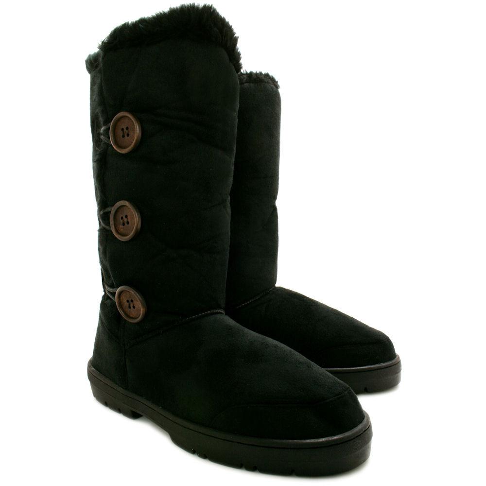 new womens flat fur button winter ella boots thick