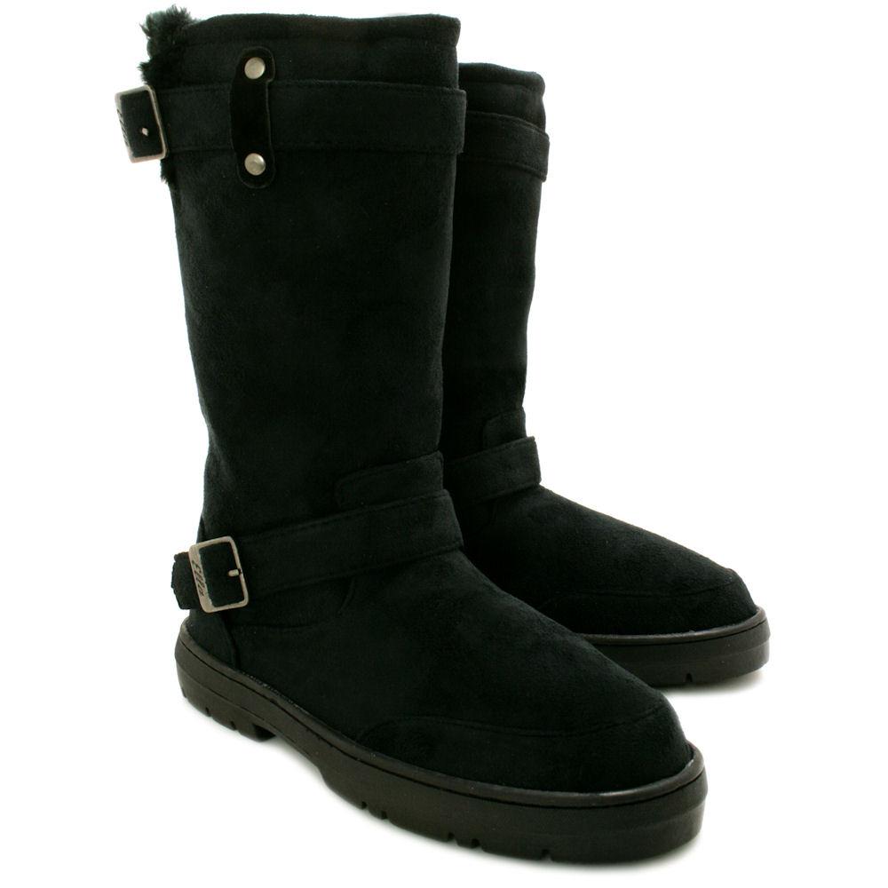 new womens flat fur buckle winter ella biker boots thick