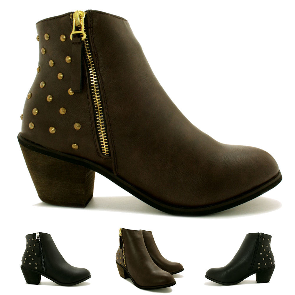 new womens cuban heel zip stud western ankle boots size ebay