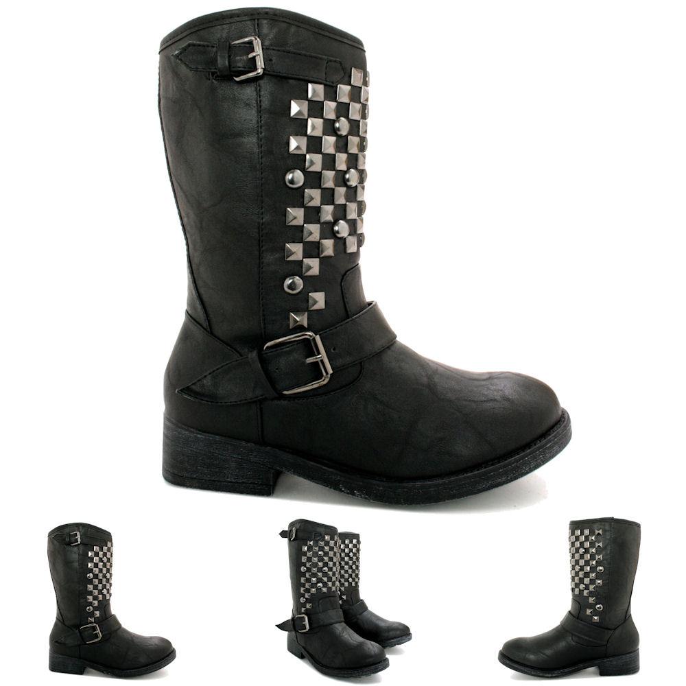 new womens flat stud buckle calf biker boots size ebay