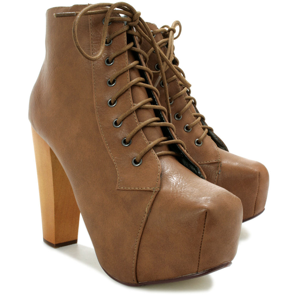 NEW-WOMENS-LACE-UP-WOODEN-BLOCK-HEEL-CONCEALED-PLATFORM-ANKLE-BOOTS-SIZE