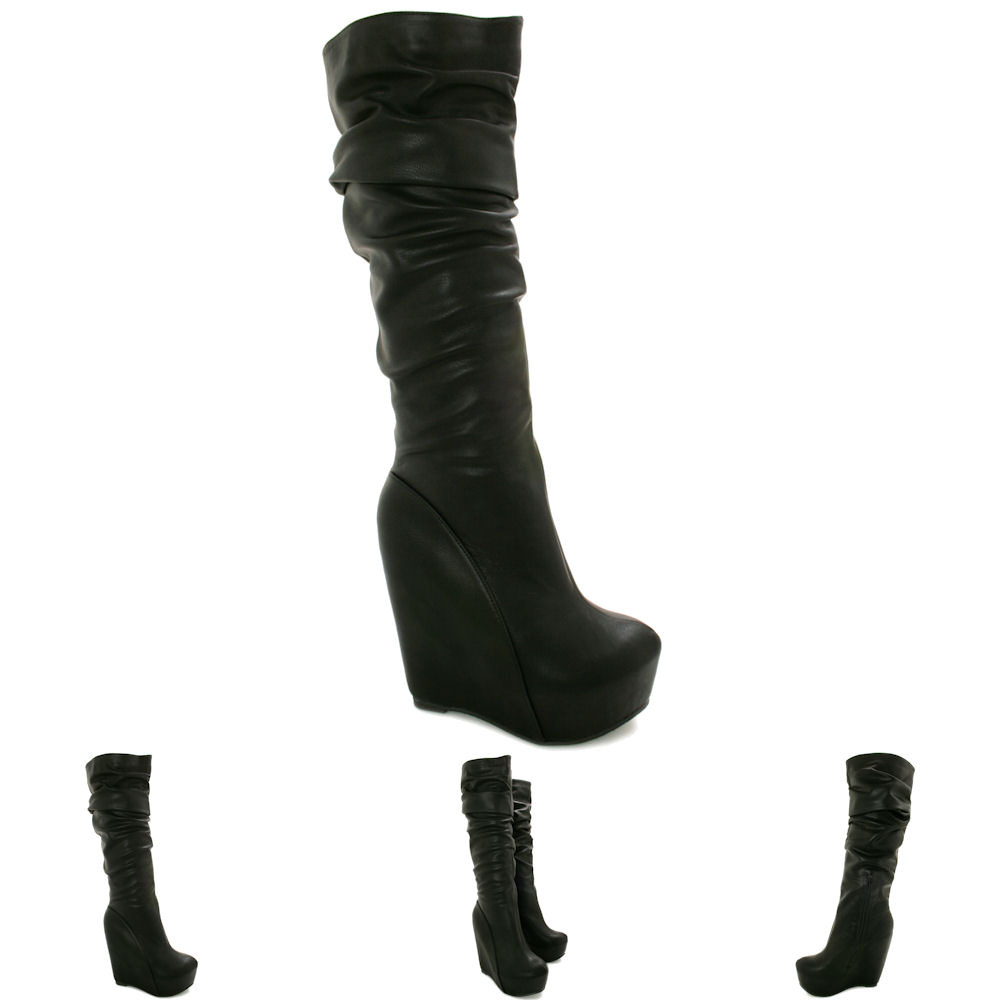 NEW WOMENS WEDGE HEEL CONCEALED PLATFORM KNEE HIGH SLOUCH BOOTS SIZE