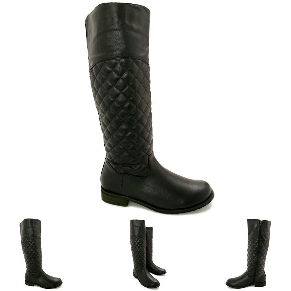new womens low heel quilted knee high boots size ebay