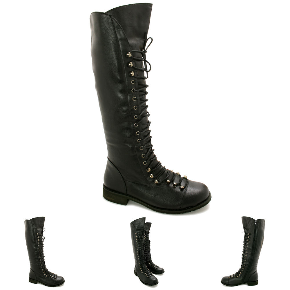 new womens flat lace up knee high biker boots size ebay