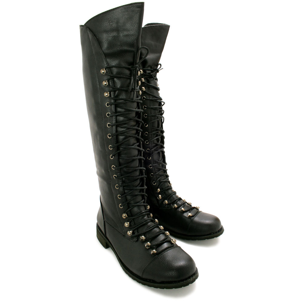 NEW WOMENS FLAT LACE UP KNEE HIGH BIKER BOOTS SIZE | eBay