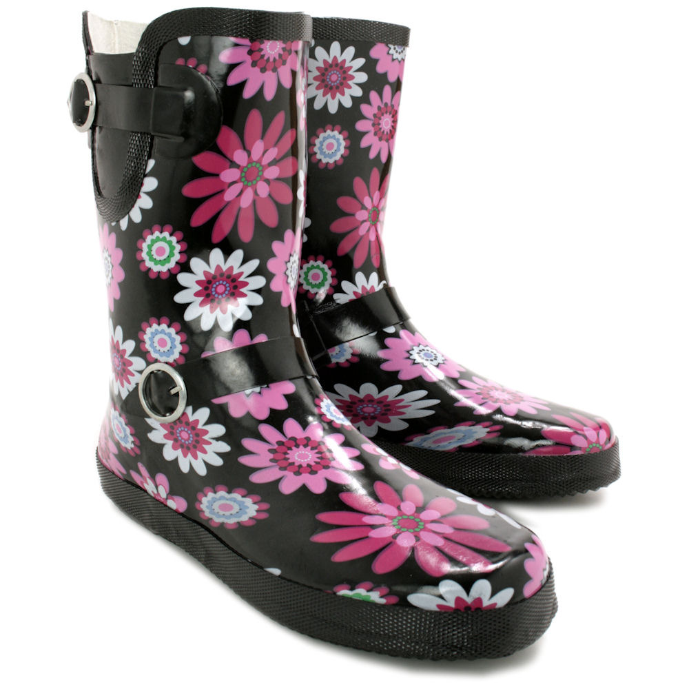 Perfect Womens 100 Rubber Gloss Adjustable Back Wide Calf Fit Welly Snow Rain