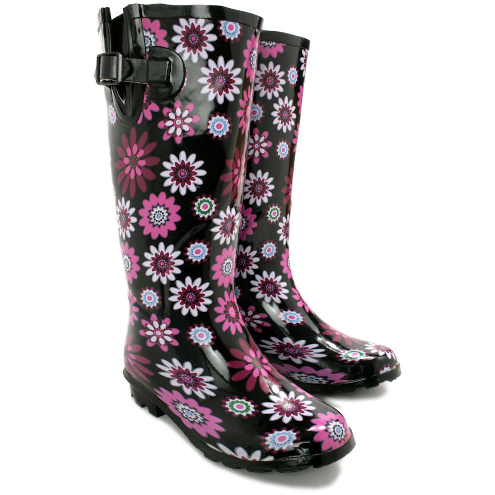 Innovative  Wellingtons Wide Calf 34 Rubber Waterproof Buckle Womens Rain Boots