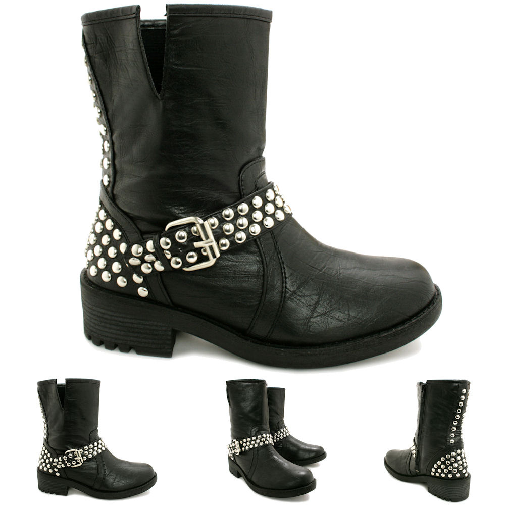 new womens flat studded buckle biker ankle boots size ebay. Black Bedroom Furniture Sets. Home Design Ideas