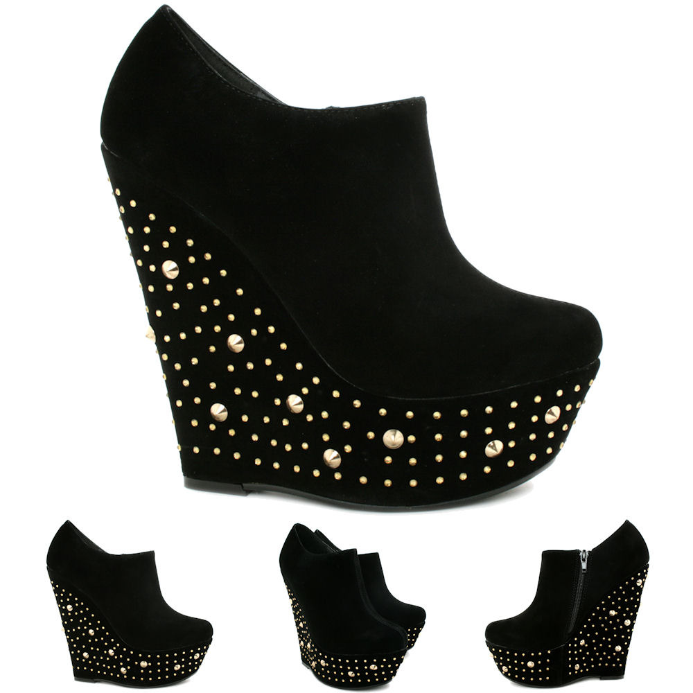 new womens wedge heel diamante studded platform ankle